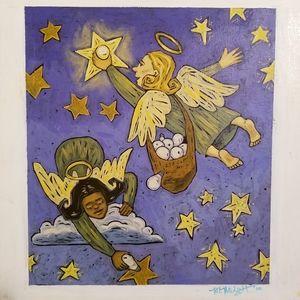 "Original Oil Painting - ""Angels repairing stars"""